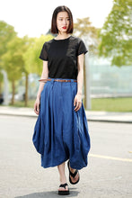 Load image into Gallery viewer, Modern Linen Skirt - Contemporary Blue Casual Every Day Comfortable Handmade Designer Woman's Skirt (C361)