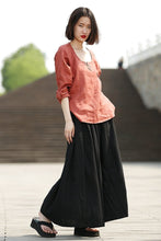 Load image into Gallery viewer, Black skirt, linen skirt, maxi skirt, long skirt, woman skirt, long linen skirt, linen skirt pockets, linen skirt women, summer skirt(C331)