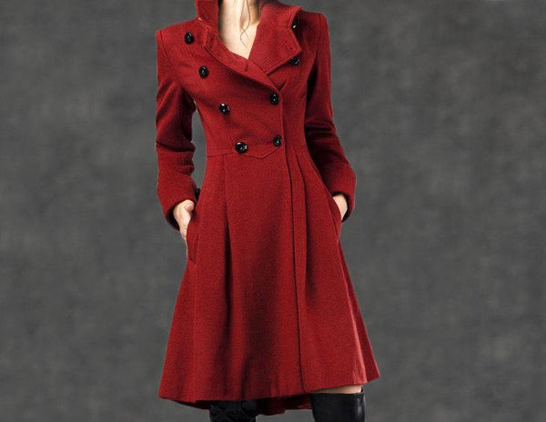 Red Military Coat - Fit-and-Flare Cashmere Wool Swing Coat with Cinched Waist and Large Turn-Back Cuffs (C788)