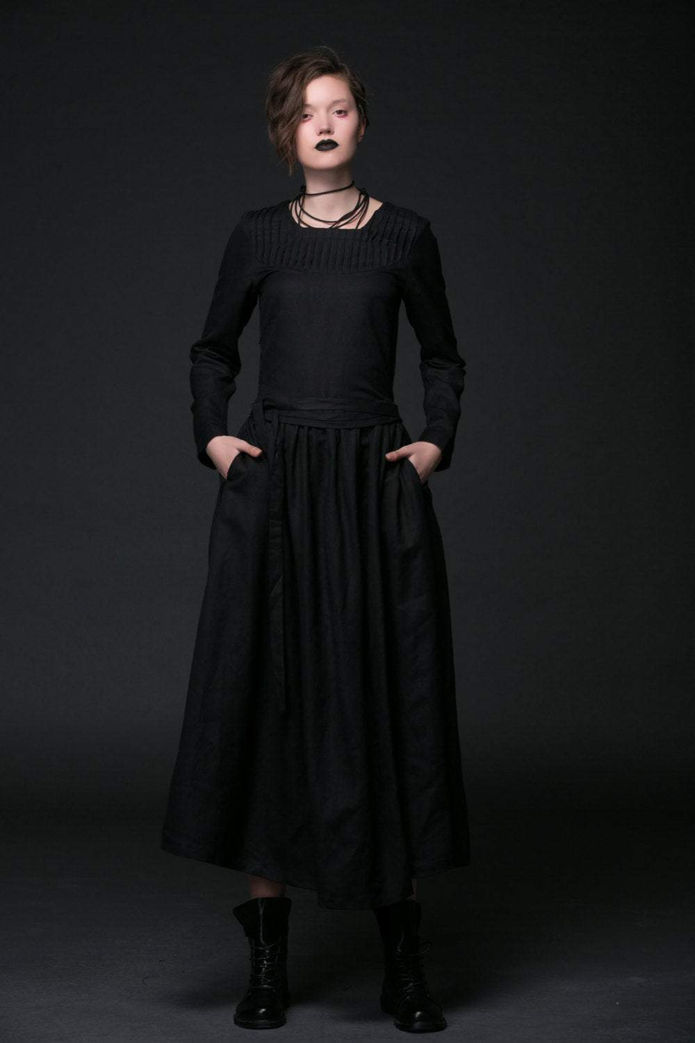 Black Linen Dress - Maxi Goth Style Long Sleeved Fit & Flare with Tie Belt Women's Handmade Clothing C513