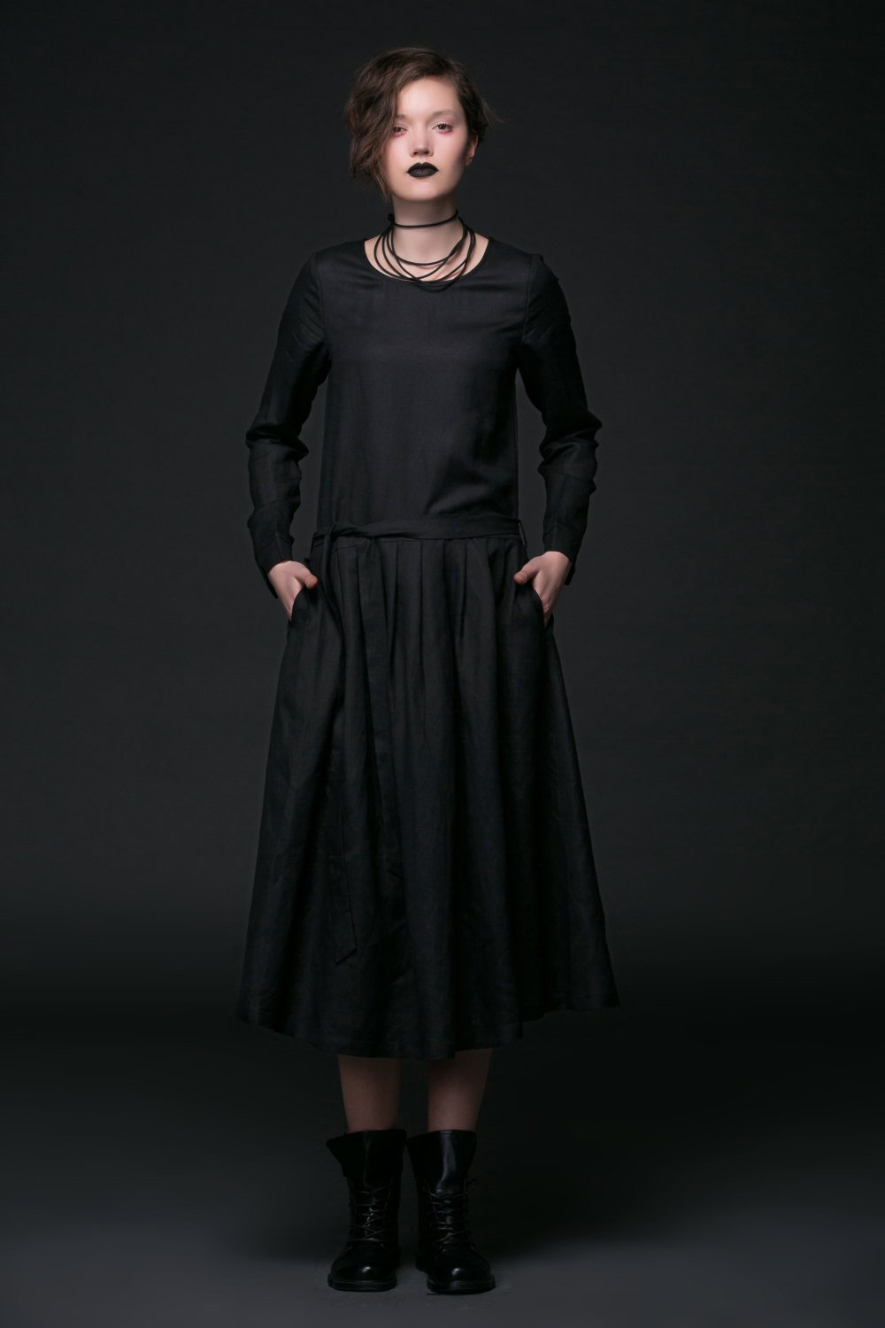 Designer dress, black linen dress, linen dress maxi, pleated dress, midi dress, long sleeves dress, autumn dress, dress with pockets C506