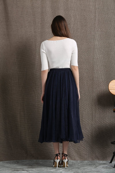 Party skirt, chiffon skirt, long skirt, navy blue skirt, womens skirts, elegant skirt, flare skirt, swing skirt, pleated skirt C428