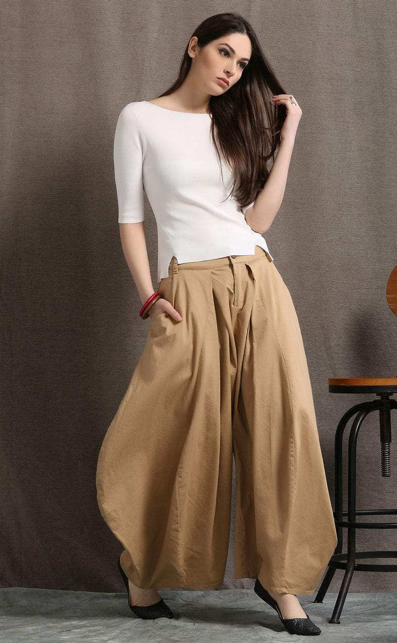 Brown pants, womens pants, summer trousers, casual pants, long pants, wide leg pants, fashion pants, loose trousers,  womens trousers C412
