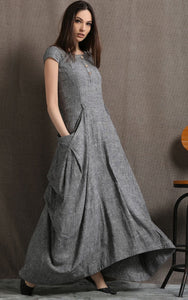 Gray Linen Dress - Long Maxi Boho Style Short Sleeved Shift Dress with Two Large Pockets Spring Summer Fashion (C427)