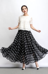 Chiffon skirt, Polka dot skirt, maxi skirt, long polka dot skirt, summer skirt, long skirt, maxi chiffon skirt, women skirt black C481