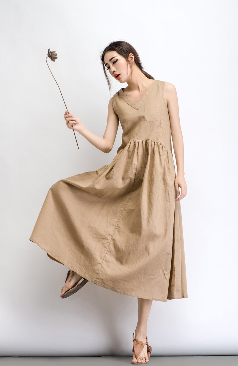 Beige Linen Dress - Maxi Neutral Color V-neck Sleeveless Loose-Fitting Summer Dress with Pocket C487