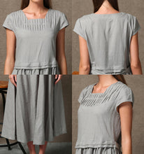 Load image into Gallery viewer, Gray Linen Dress, linen dress, long linen dress, woman dress, Short Sleeved dress, Loose linen dress, linen summer dress, casual dress C543
