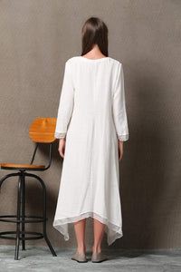 White Lagenlook Dress - Layered Linen & Chiffon Relaxed-Fit Long-Sleeved Asymmetrical Summer Dress C560