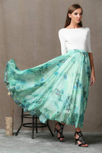 Load image into Gallery viewer, Turquoise skirt, chiffon skirt, print maxi skirt, sheer skirt, butterfly skirt, long skirt, floral skirt, flower skirt, summer skirt C564