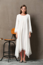 Load image into Gallery viewer, White Lagenlook Dress - Layered Linen & Chiffon Relaxed-Fit Long-Sleeved Asymmetrical Summer Dress C560