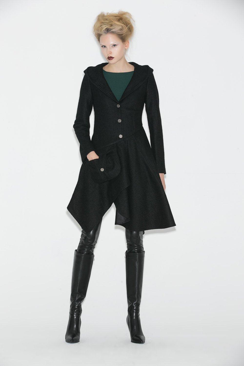 Black Swing Coat - Contemporary Unique Design Winter Jacket with Pixie Rag Hemline and Large Front Pocket C671