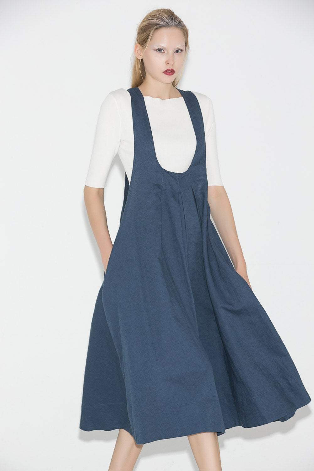 Pinafore Dress, womens dress, linen dress, blue dress, summer dress, loose dress, casual dress, maternity dress, midi dress C693