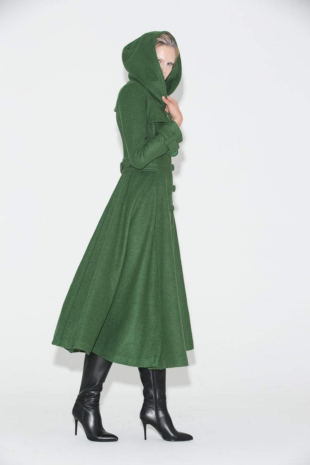 Green Coat, womens coat, wool coat, long coat, Long Fitted Hooded Single-Breasted Fully Lined Womens  Autumn Winter Outerwear  C683