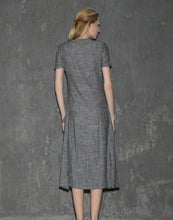 Load image into Gallery viewer, Gray Linen Dress - Long Short-Sleeved Casual Loose-Fitting Handmade Designer Dress with Pockets C647