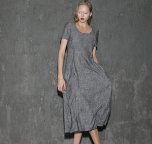 Gray Linen Dress - Long Short-Sleeved Casual Loose-Fitting Handmade Designer Dress with Pockets C647
