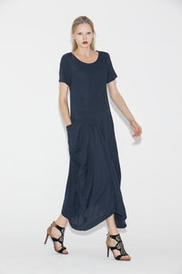 Navy blue linen dress - Casual Chic Summer Loose-Fitting Plus Size Comfortable Women's Dress (C688)