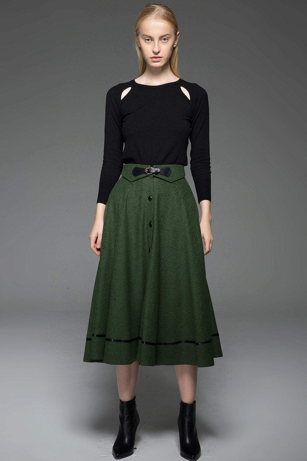 A-Line Winter Warm Midi-Length Skirt C760