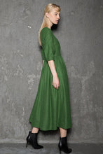 Load image into Gallery viewer, Simple Wool Dress - Emerald Green Elegant Feminine Minimal Contemporary Pleated Long Woman's Dress with Three-Quarter Sleeves C727