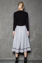 Load image into Gallery viewer, Pale gray wool skirt, maxi skirt, custom skirts, midi skirt, winter skirts, pleated skirt, flare skirt, womens skirts, button skirt C730