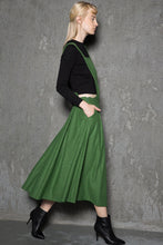 Load image into Gallery viewer, Green wool  pinafore dress C733