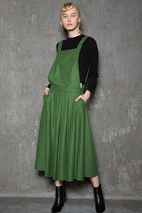 Green wool  pinafore dress C733