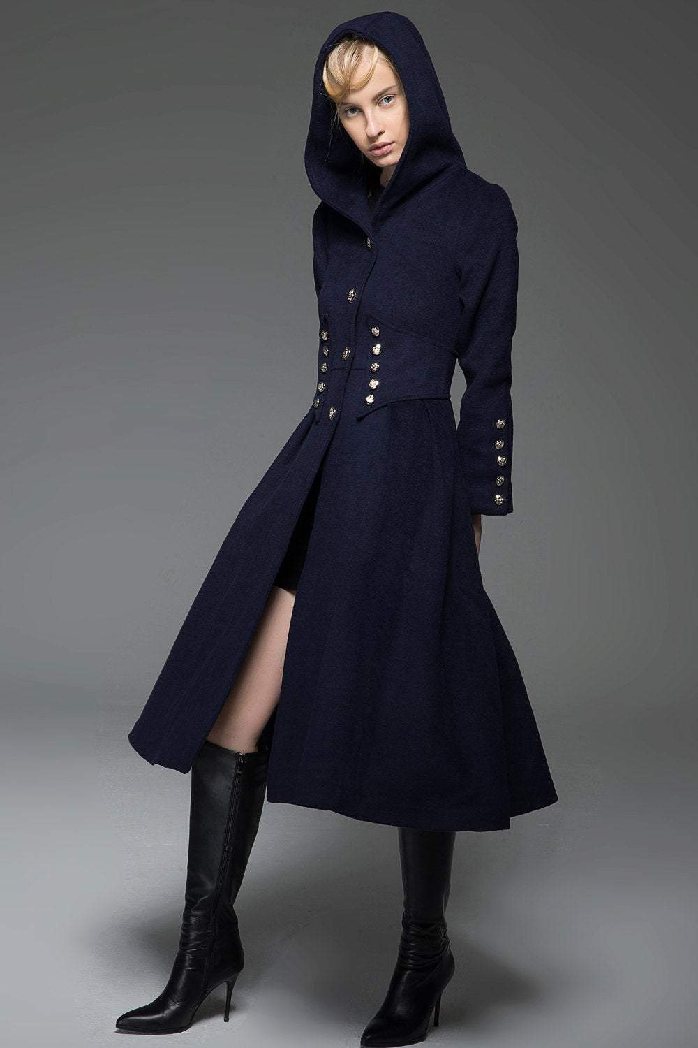 Navy Military Style Coat - Long Modern Dark Blue Hooded Winter Wool Designer Coat with Pockets and Button Detail C739