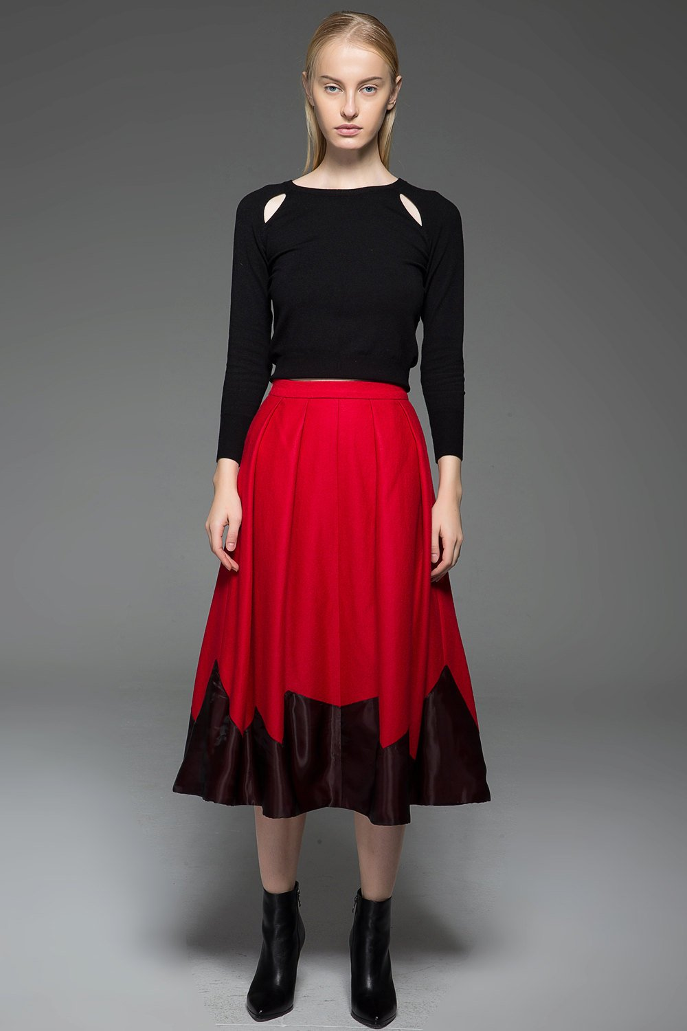 Red skirt, winter skirt, midi skirt, wool skirt, womens skirts, pleated skirt, autumn skirt, handmade skirt, unique skirt C762