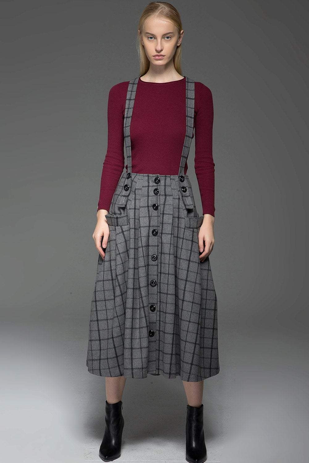 plaid skirt, Suspender skirt, wool plaid skirt, long skirt, buttons skirt, country style skirt, grey skirt, gray skirt, womens skirts C767