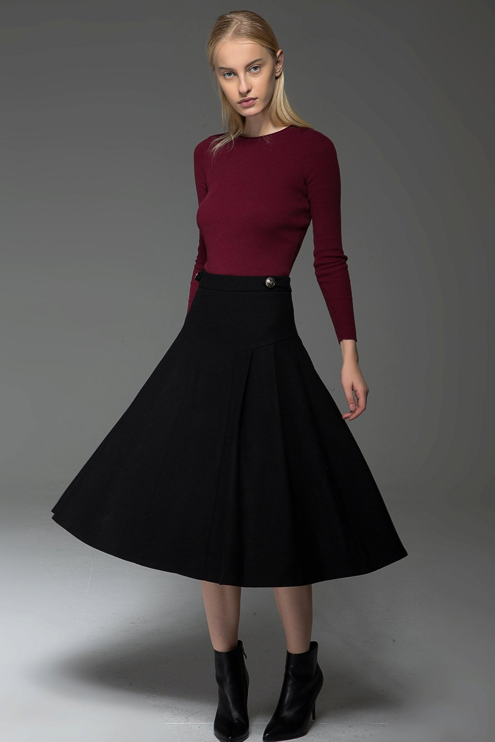 Pleated skirt, black skirt, womens skirt, midi skirt, winter skirt, flare skirt, autumn skirt, wool skirt, classic skirt C771