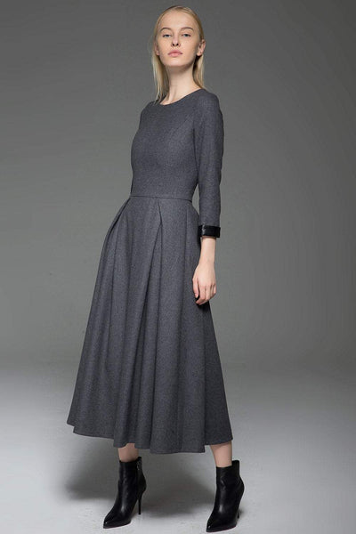 Gray Wool Dress, Classic Long Fitted Tailored Warm Winter Dress with Long Sleeves Round Neck & Black Leather Cuffs C780