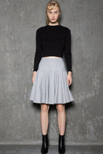 Load image into Gallery viewer, wool skirt, gey skirt, Skater skirt, winter skirt, tea length skirt, pleated skirt, womens skirts, mini skirt, handmade skirt C731
