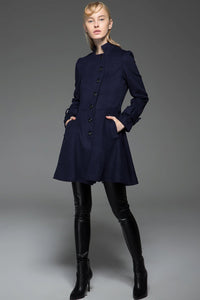 Women's Car Coat - Navy Blue Short Winter Jacket Fit & Flare Swing Coat with Self-Tie Belt and Asymmetric Button Closure C750