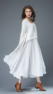White Linen Dress - Layered Flowing Elegant Long Sleeve Long Summer Dress with Scoop Neck Handmade Clothing C819