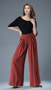 High waisted pants, linen trousers, womens pants, wide leg pants, long trousers, red pants, pleated pants, flared pants, casual pants C827