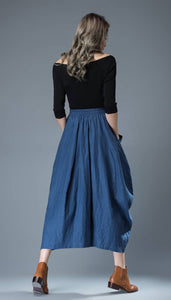 women's bubble linen skirt C826