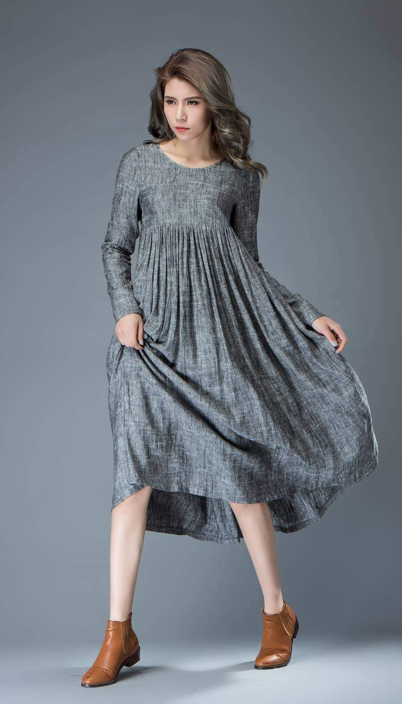 Casual Gray Dress - Comfortable Linen Loose-Fitting Long Sleeved Everday Marl Grey Midi-Length Woman's Dress C808