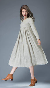 Casual Linen Dress - Light Gray Flared Pleated Mid-length Long Sleeved High-Waisted Loose-Fitted Handmade Plus Size Dress C809