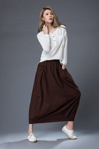 Long linen skirt, Brown Linen Skirt, linen skirt, long linen skirt with pockets, summer skirt, linen summer skirt, handmade skirt C861