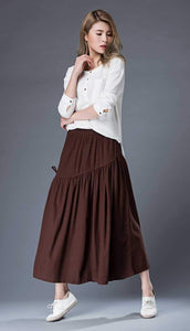 summer skirt, womens skirt, long skirt, maxi skirt, linen shirt, loose skirt, pleated skirt, brown skirt, casual skirt, drawstring  C856