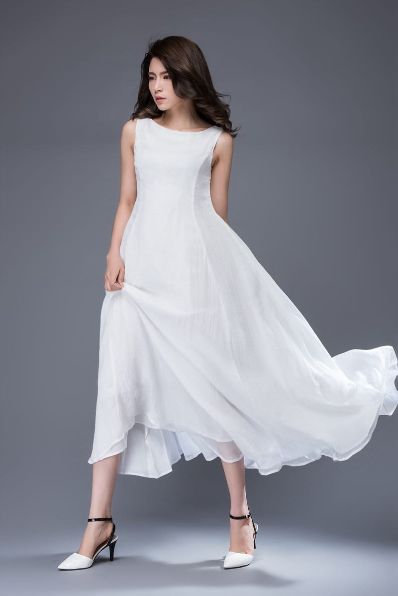 White Chiffon Dress - Handmade Simple Elegant Floaty Semi-Fitted Long Summer Prom Party or Wedding Dress with Self-Tie Belt C879