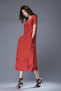 Linen Dress - Rusty Red Semi-Fitted Casual Comfortable Everyday Day Dress with Large Side Pockets & Short Sleeves C882