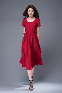 Red dress, scoop neck dress, linen dress, midi dress, drawstring dress, everyday dress, elegant dress, summer dress, pleated dress C887