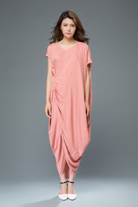linen dress, Maxi dress, Pink dress, womens dresses, loose dress, summer dress, linen long dress, linen dress, Asymmetrical dress C919