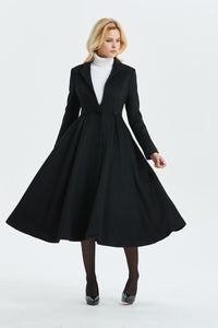 vintage inspired  long wool princess coat C996#