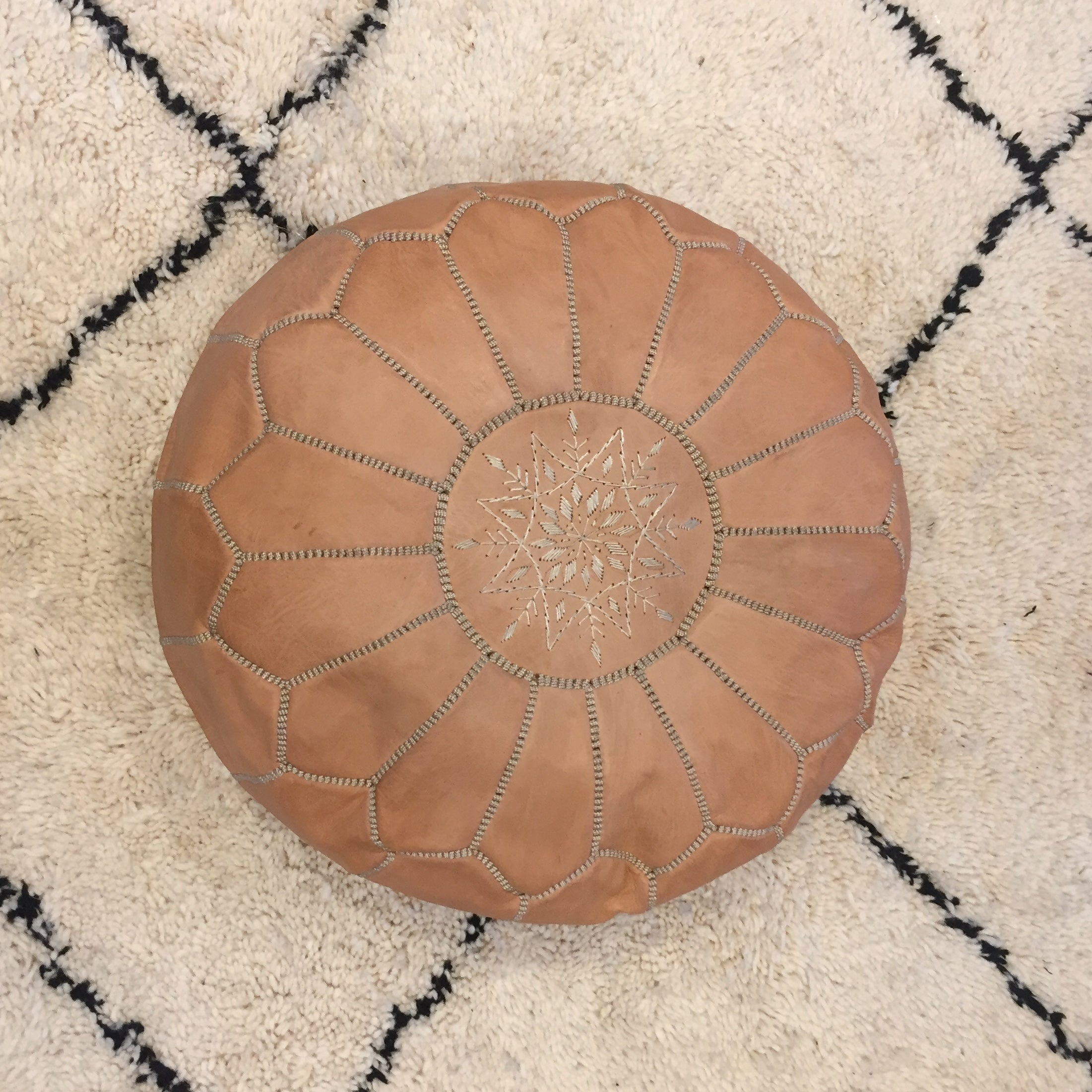Moroccan Leather Pouf beige