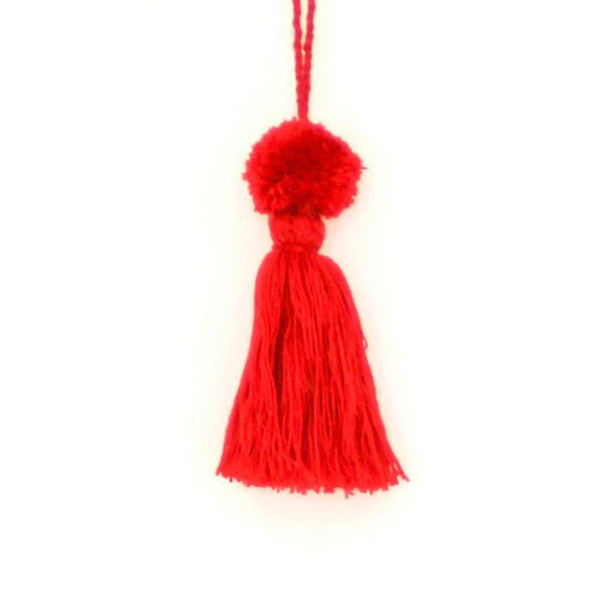 Colourful Wool Tassels Red