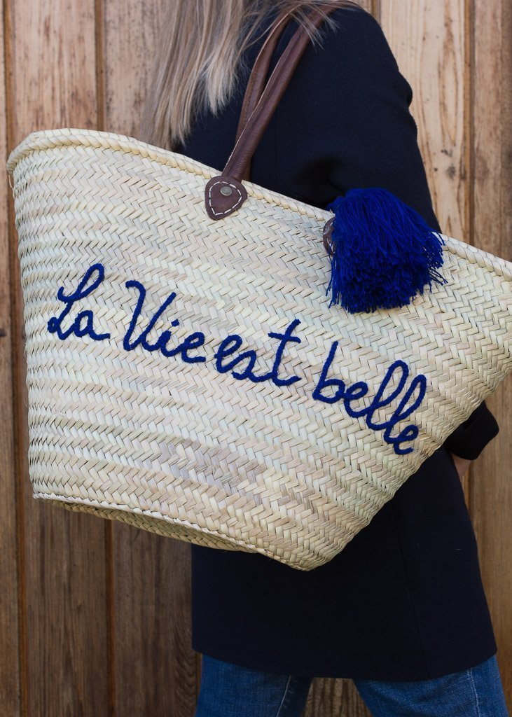 French Basket - French Shopping Basket Blue