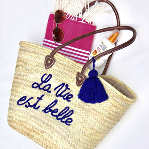 French Market Basket - Straw Basket Blue
