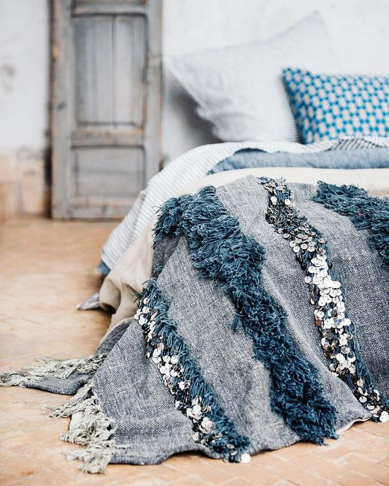 Moroccan Wedding Blanket Grey