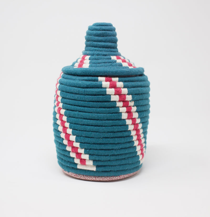 Moroccan Bread Basket Turkish Rose Stripe